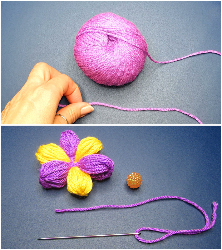 How to make a simple multicolor woolen flower